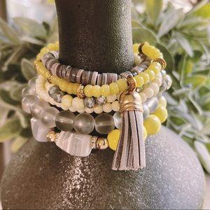 6 Piece Stackable Stretch Bracelet Set Yellow/Grey